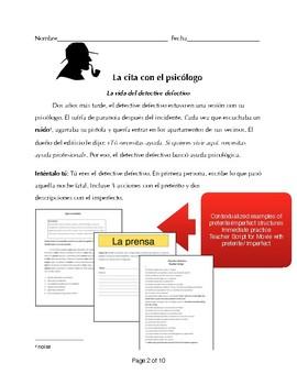 Free Spanish 1+ short film activity  preterite/ imperfect -Defective Detective