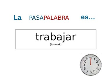 """Spanish 1 verb review """"Password"""" game"""