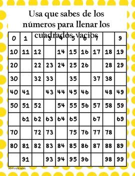 100 Chart Activity Spanish {NO PREP} Packet