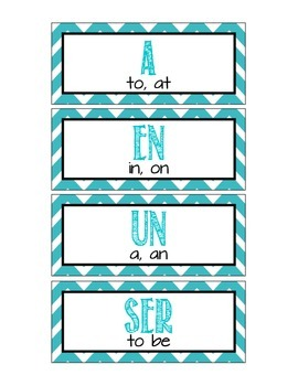 Spanish 100 High Frequency Words Word Wall - Chevron Theme