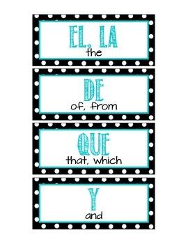 Spanish 100 High Frequency Words Word Wall - Polka Dot Theme