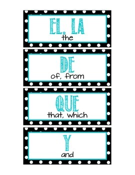 Spanish 100 High Frequency Words Word Wall - Polka Dot Theme