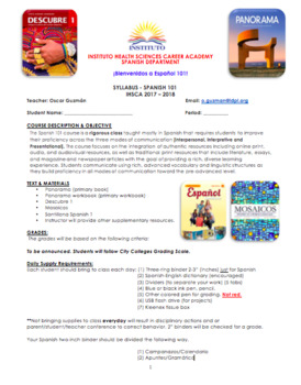 Spanish 101 syllabus