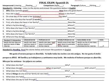 Spanish 1A Package (9 week unit plan for beginner Spanish)