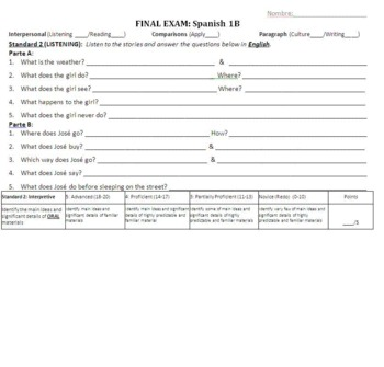 Spanish 1B - Final Project, Final Exam, and Review