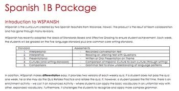 Spanish 1B Package (10 week unit plan for beginner Spanish)