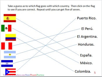 Spanish 1s practice Interpersonally; flags, colors, shapes