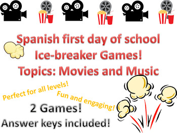 Spanish First Day  of school  Ice breaker games back to school music & movies