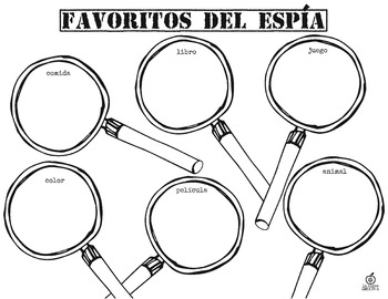 Spanish 1st Grade Beginning of the Year Activity Spy Theme, Editable