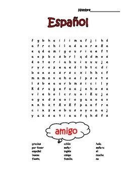 Spanish Easy 1st Words Word Search Puzzle By Profesora Souza Tpt