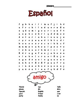 Spanish Easy 1st Words Word Search Puzzle