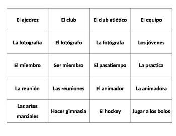 Spanish 2 1B Vocabulary Flashcards