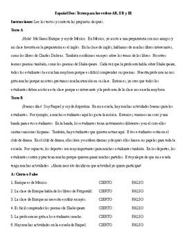 Spanish 2: AR, ER, IR Regular Verbs Reading Activity