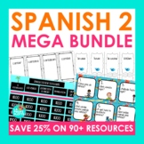 Spanish 2 Activities Mega Bundle | Spanish Task Cards, Con