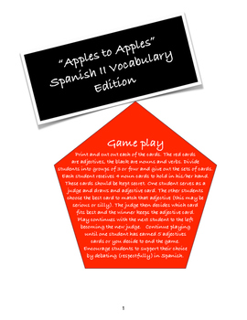 "Spanish 2 ""Apples to Apples"" Vocabulary Card Game"
