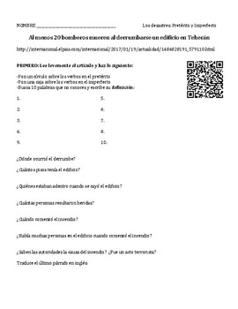 Spanish 2 Authentic Reading: Newspaper article, building fire, pret. vs. imp.