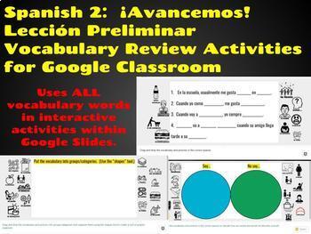Spanish 2: Avancemos, Lección Preliminar, Vocabulary Review Activities