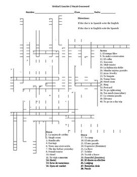 Spanish 2 Avanvemos Unidad 1.2 Vocabulary Crossword