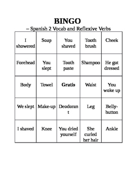 Spanish 2 BINGO boards Body parts and Reflexive Verbs