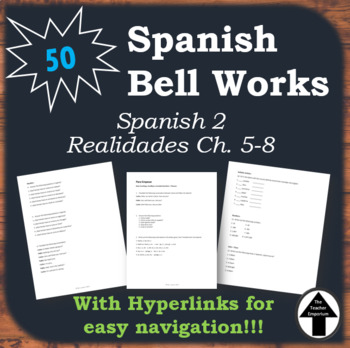 Spanish 2 Bell Work Collection of 50 Do Now, Bell Ringers, Realidades 1