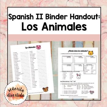 Spanish 2 Binder Handout: Los Animales / Animals