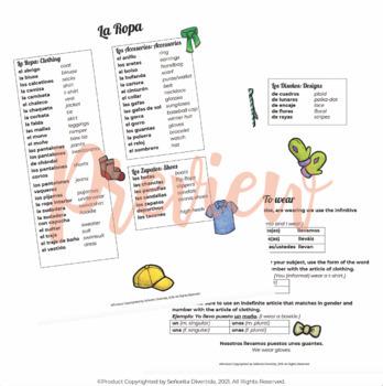 Spanish 2 Binder Handout: Clothing / La Ropa
