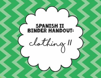 Spanish 2 Binder Handout: Clothing 2