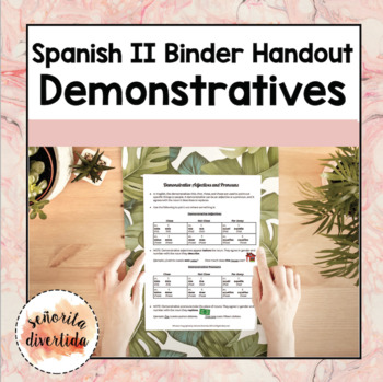 Spanish 2 Binder Handout: Los Adjetivos Demostrativos / Demonstrative Adjectives