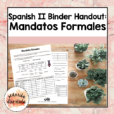 Spanish 2 Binder Handout: Los Mandatos Formales / Formal Commands