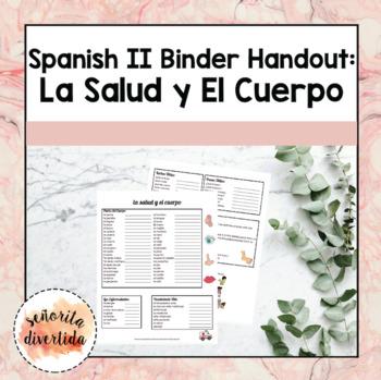 Spanish 2 Binder Handout: La Salud y el Cuerpo / Health and Body