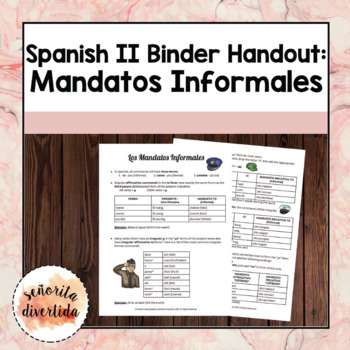Spanish 2 Binder Handout: Los Mandatos Informales / Informal Commands