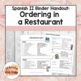 Spanish 2 Binder Handout: Ordering in a Restaurant