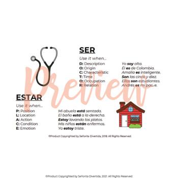Spanish 2 Binder Handout: Ser v. Estar