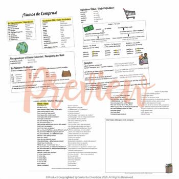 Spanish 2 Binder Handout: Ir de Compras / Shopping
