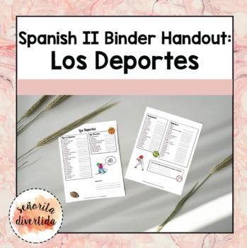 Spanish 2 Binder Handout: Los Deportes / Sports