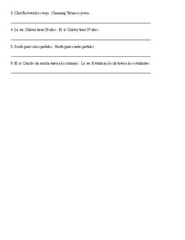 Spanish 2: Comparisons of Inequality Worksheet