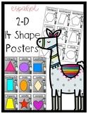 Spanish 2-D Llama Shape Posters
