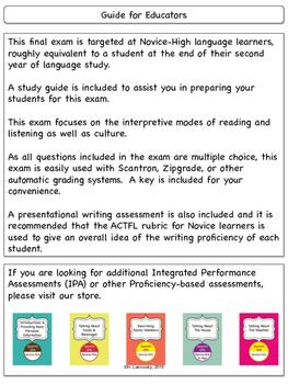 Spanish 2 Final Exam & Study Guide