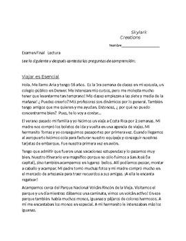 Spanish 2 Final  Reading Assessment  Un Romance en Costa Rica