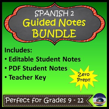 Spanish 2 Guided Notes Bundle with Teacher Keys