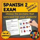 Spanish 2  Final Exam
