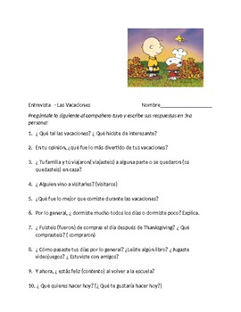 Spanish 2 Interview for after Thanksgiving Break