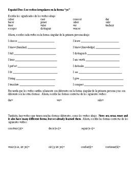 Spanish 2: Irregular Yo Verb Worksheet