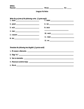 Verbs Like Gustar Worksheet: spanish 2 irregular yo verbs like gustar quiz by devon orrin tpt,