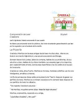 Spanish 2+  Reading Comprehension - Health, fitness vocabulary - La Pizzería