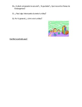 Spanish 2 Mi Niñez  Questions to guide paragraph using  Imperfect & Preterit