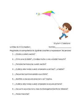 Spanish 2  Mi Niñez   Interview and Guided Paragraph - Imperfect