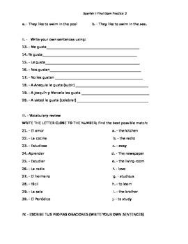Spanish 2 Midterm Practice