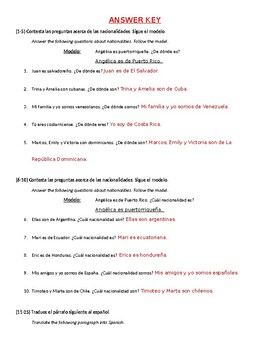 Spanish 2: Nationality Pop Quiz