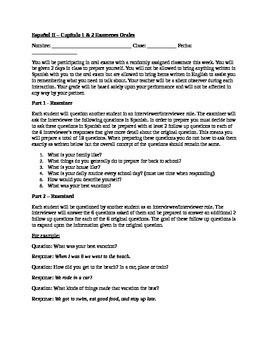 Spanish 2 Oral Exam & Rubric: #1